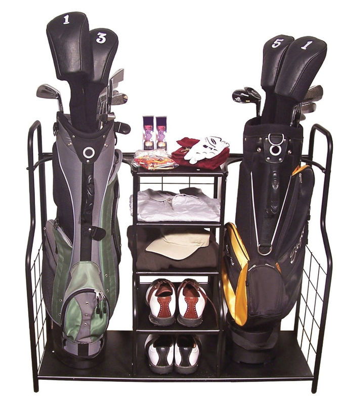 Durable Golf Organizer Rack Non Folding Highly Compact Golf Club Storage Rack